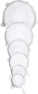 Unique Store Tapas de Silicona elásticas, 6 tamaños de Diferentes tamaños Tapas de Silicona para Alimentos, Reutilizable Fundas Protectoras para Alimentos Tapa Tazas, Boles o Tarros,Sin BPA