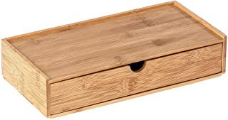 WENKO Boîte avec tiroir en bambou Terra - Boîte de rangement, panier de salle de bain, Bambou, 28 x 6 x 14 cm, naturel