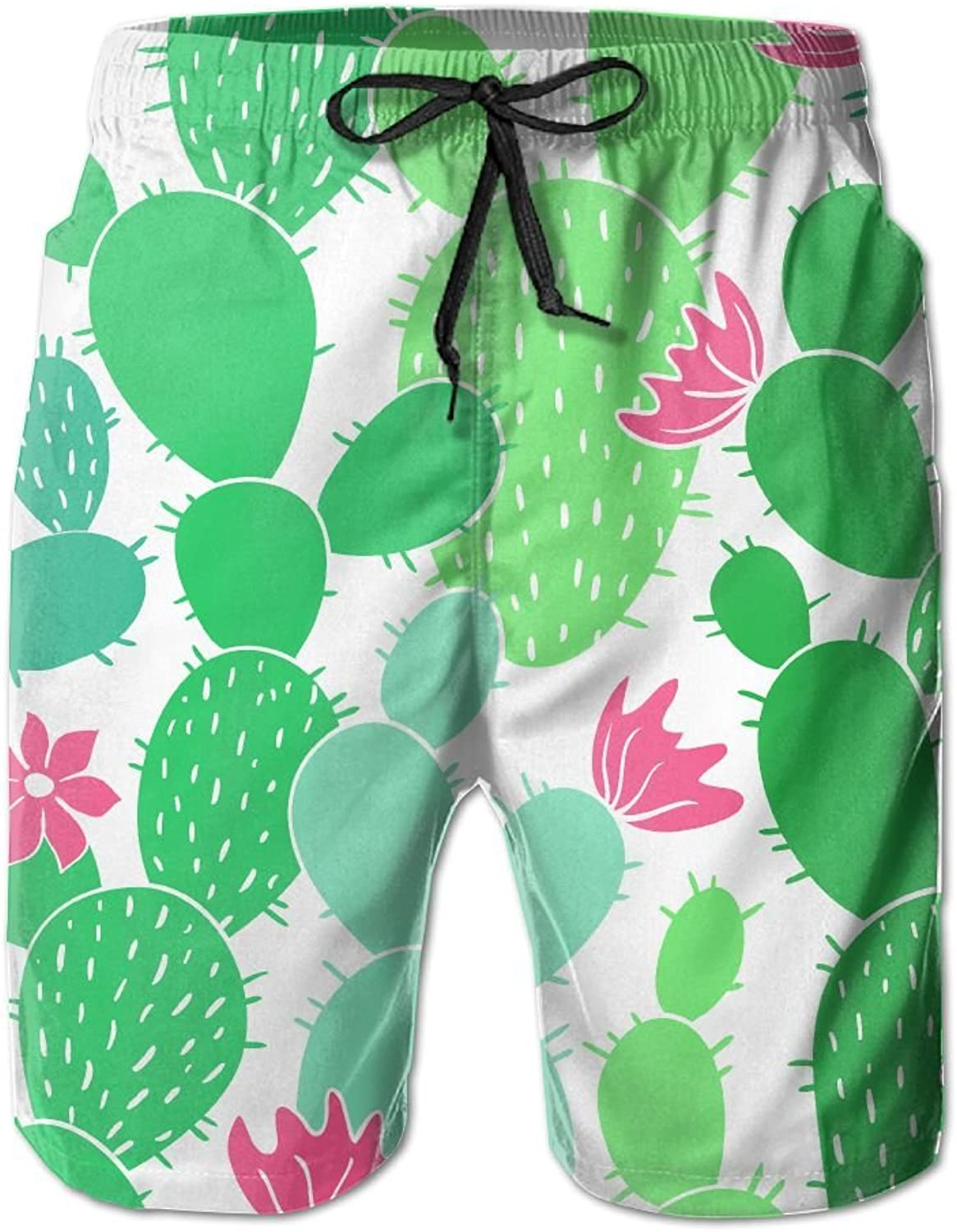 139c9ff066 Tydo Cacti Cactus Pattern Men's Beach Shorts Classic Swim Trunks Trunks  Trunks Surf Board Pants With Pockets For Men 062a5f