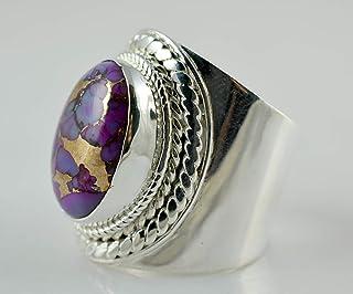 Anello in argento turchese rame viola, anello con gemma, anello in argento, anello fatto a mano, anello in argento massicc...