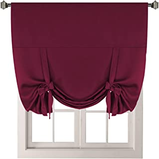 H.VERSAILTEX Solid Blackout Energy Efficient Tie Up Shades -Rod Pocket Panel for Bedroom Burgundy 42W x 63L (Set of 1 Panel)