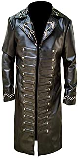 KAAZEE Mens Captain Hook Brown Faux Leather Halloween Jacket Trench Coat