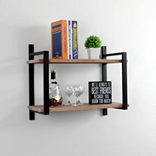 Womio Industrial Bookshelf/Bookcase Wall Mount,2 Tier Metal&Wood Wall Shelf Unit,24in Rustic Book Shelves,Hanging Wall Shelves for Bedrooms,Office,Living Room,Natural Color