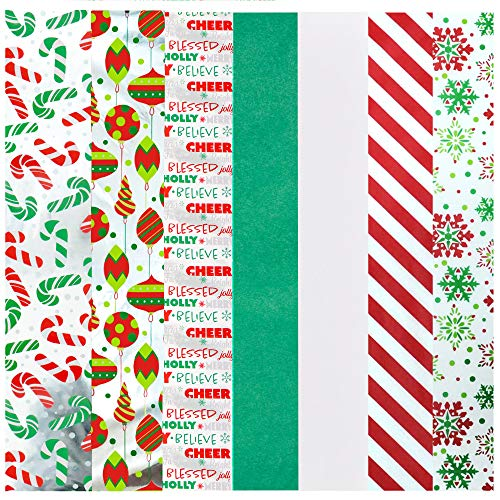 150 Pieces Christmas Wrapping Tissue Paper w/Hologram & Prints for Gift Decoration, Gift Wrapping Boxes and Bags, Holiday Gift Extra-Special, Christmas Trees, Wine Bottles, Art & Craft and More