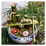 Fuente de Agua de bambú con Bomba para Patio/Estanque/jardín Kit de bambú de bambú para Exteriores y al Aire Libre Tazón de jardín de Peces para decoración de Paisaje Bambú Natural y Hecho a Mano