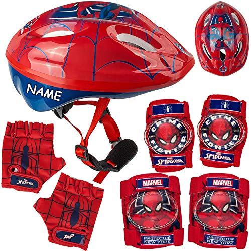 alles-meine.de GmbH 7 TLG. Set: - Sicherheitsset - Kinderhelm / Fahrradhelm + Fahrradhandschuhe + Knie & Ellenbogenschützer - inkl. Name - Spider-Man - Gr. 52 - 56 - Circa 3 bis ..