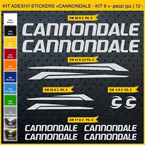 Pimastickerslab Aufkleber Fahrrad CANNONDALE- KIT 9- Kit Aufkleber Stickers 12 Stück – bici Bike Cycle wählbar Cod.0922 (090 ARGENTO)