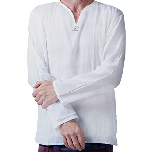 4b1b6de54697a Men Renaissance Medieval White Cotton T Shirt V Neck Hippie Pirate Beach  Kurta Yoga