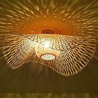 Lámpara De Techo Mimbre Bambú Natural Retro E27 Lampara De Pared Vintage Pantalla Tejida A Mano Comedor Dormitorio Sala De Estar Iluminación De Techo Cocina Pasillo Araña Oficina Decorativa,75cm