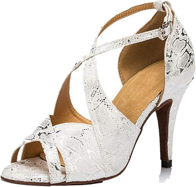 Lefuyan Women's Latin Dance Shoes, Ballroom Salsa Wedding Performance Dance Shoes Suede Sole 8.5cm Heels,36