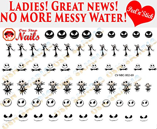 Jack Skellington clear vinyl Peel and Stick (NOT Waterslide) nail art decals/stickers. Set of 69 by One Stop Nails.