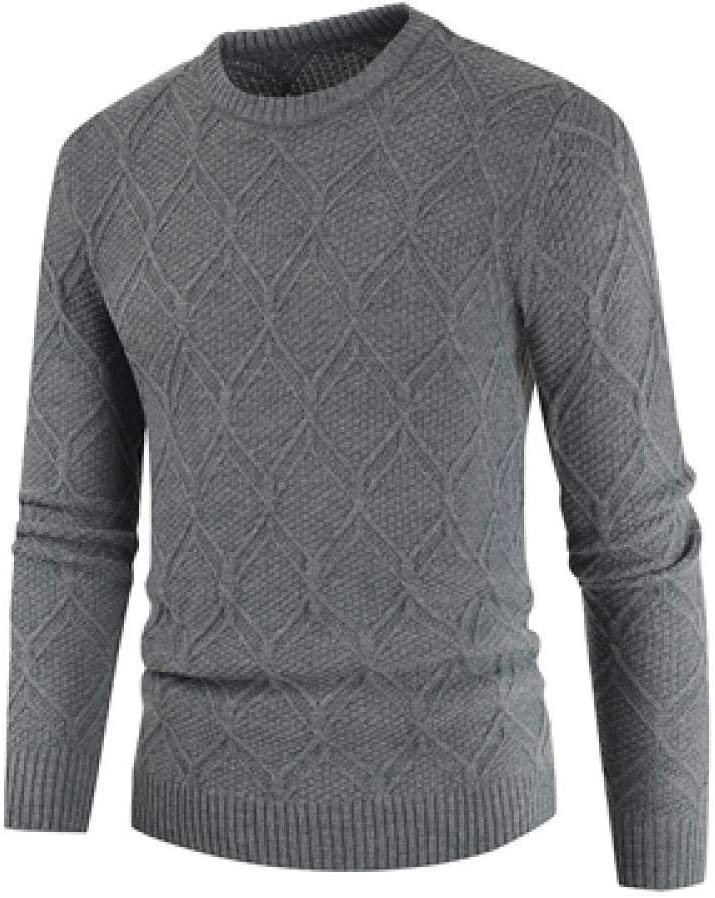 BBWY Men's Check Knitted Sweater, Winter Men's Pullover, Pure Color Slim Sweater, Casual Round Neck Clothing-Dark Gary_XXL_