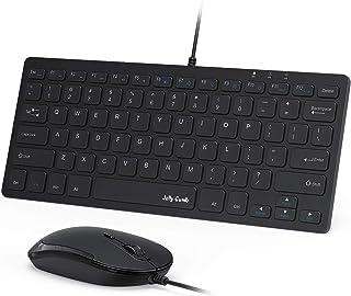 Jelly Comb キーボード・マウスセット 有線式 パンタグラフ式 超薄型 コンパクトサイズ USBワイヤーコード キーボード 静音マウス 打ちやすい ノートパソコン/PC/デスクトップ/ノートブック用 Win7/8/10に対応