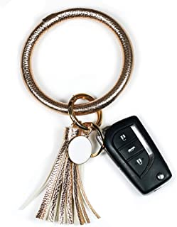 Wristlet Keychain Bracelet Bangle Keyring - Large Circle Key Ring Leather Tassel Bracelet Holder For Women Girl
