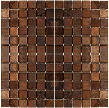 Medium Square Antique Copper Mosaic Tile - Kitchen Backsplash/Bath Backsplash/Wall Decor/Fireplace Surround