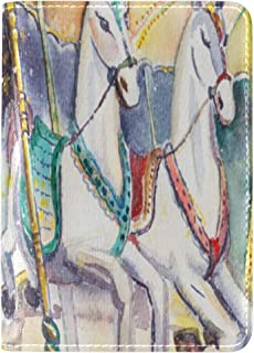 Zlu Retro-carousel-horse-winter-travel-watercolor Leather Passport Holder Cover Case Travel One Pocket