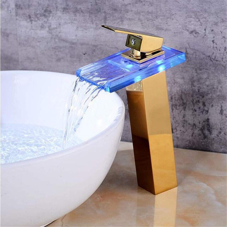 Küche-heies und kaltes Wasser-Messing-Chrom-Becken-Hahn-Becken führte Wasserfall-Glas über Gegenbecken, das Goldbecken-Hahn erhht