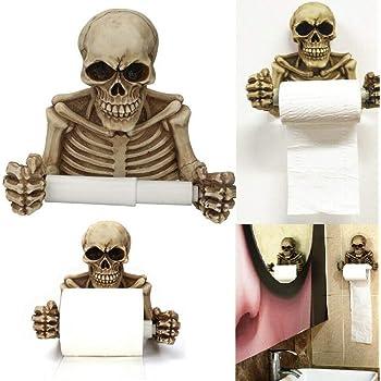 Skull Toilet Paper Towel Roll Holder Wall Hanging Mount Bone Dry Tissue Holder Skeleton paper towel Toilet holder stand for Bathroom Kitchen Halloween Decorations