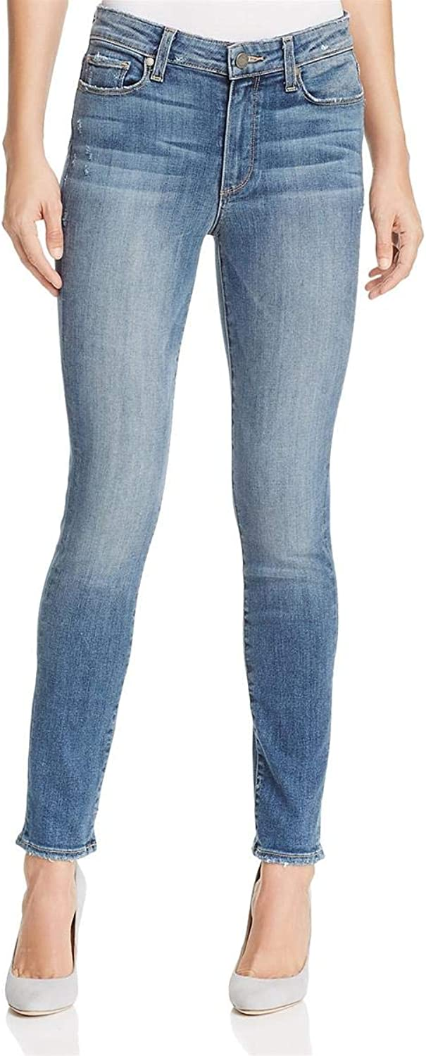 Paige Womens Hoxton Distressed MidRise Skinny Jeans bluee 25