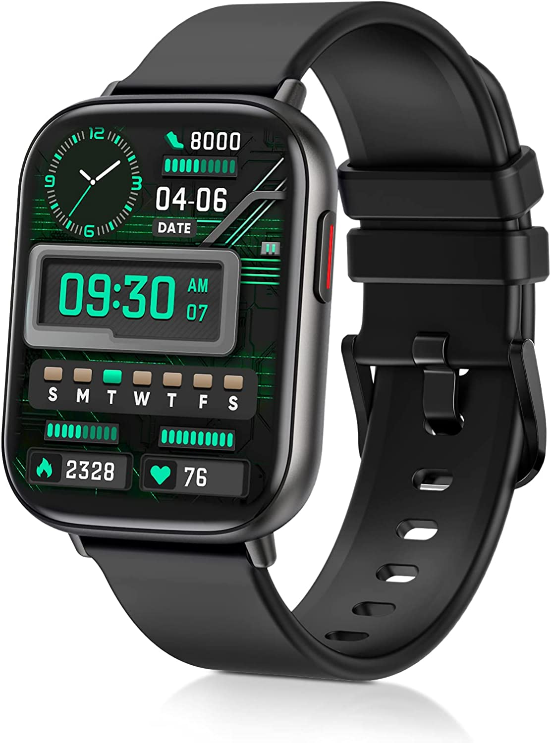 Smart Watches for Men Women,Fitness Tracker with Heart Rate Monitor Sport AMOLED Display Swimming Waterproof Watch for Android/ iOS/Phones, Black