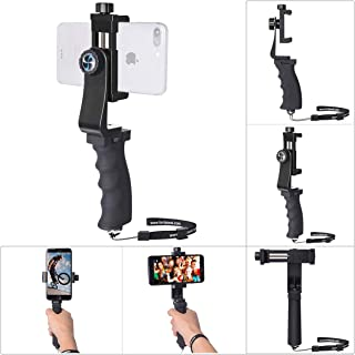 Ergonomic Smartphone Vlogging Hand Grip Stabilizer Mobile Cell Phone Video Recording Holder Rig Handle Travel Selfie Stick Clamp Mount for 60mm-100mm Width iPhone Samsung (Landscape+Portrait Mode)