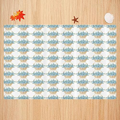 Alfombra de baño Antideslizante,Marfil y Azul, diseño de Cesta de Mimbre con Flores florecientes de la Temporada de Primavera, mu Apto para Cocina, salón, Ducha (40x60cm)