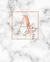 Dotted Journal: Dotted Grid Bullet Notebook Journal Rose Gold Monogram Letter a Marble with Pink Flowers (7.5 X 9.25) for Women Teens Girls and Kids