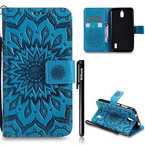Huawei Y625 Hülle Leder,Huawei Y625 Flip Case,BtDuck Blume Tasche mit Magnetverschluss, Kartenfach Stand Cover für Huawei Y625 Wallet - Blau
