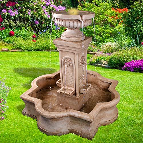 Gartenbrunnen Brunnen Zierbrunnen Zimmerbrunnen Springbrunnen Brunnen FLORANZ mit LED-Licht 230V Wasserfall Wasserspiel für Garten, Gartenteich, Terrasse