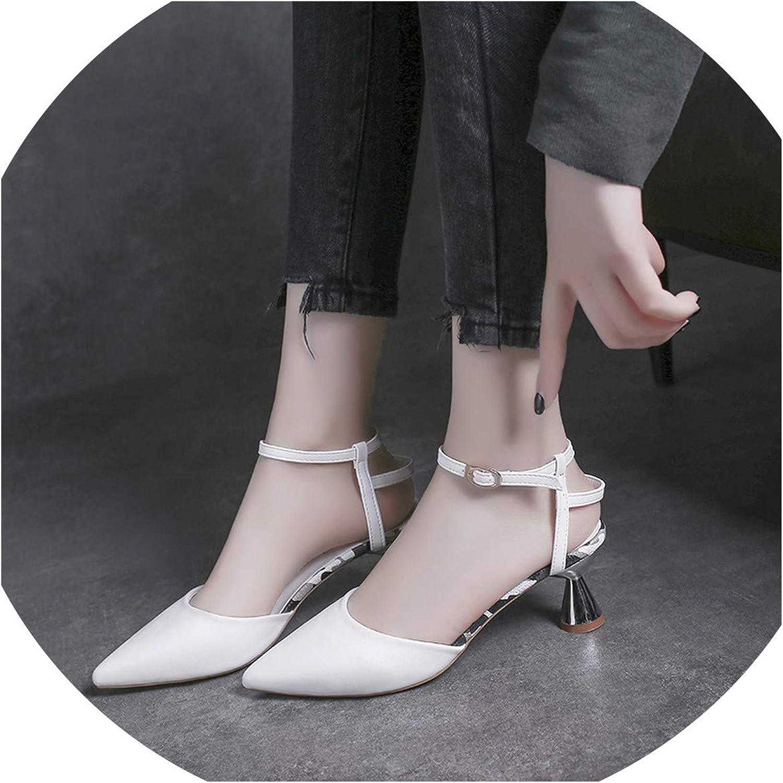 Yeenvan] 2019 New Spring Summer Sha Toe Shallow Flock Buckle Rap Simple Spike High Heels Sandals Women Fashion Tide 10C517
