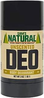 Sam's Natural Deodorant Stick - Unscented, Fragrance-Free, Aluminum Free, Vegan, Cruelty Free, 3 oz
