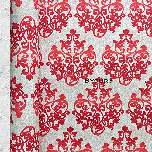 Byour3 Tela de algodón al metro – Tela decorativa para cojines, manteles, Grandfoulard sofá, colcha de matrimonio, funda de sofá de 3 plazas, tela por metros, tapicería, cortinas, damasco, rojo rubí