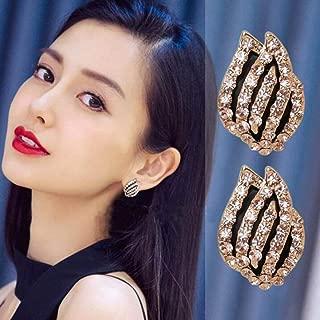 GEDASHU earings Tulip Flowers Earrings Crystal Stud Earrings for Women Rhinestone Wedding Earings
