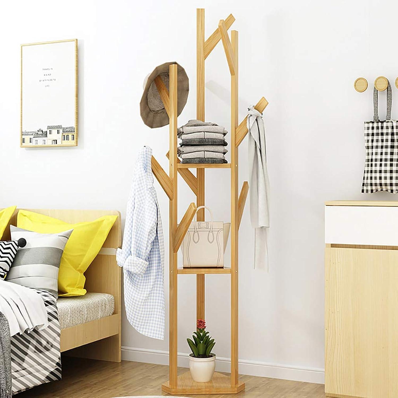 Floor-Standing Coat Rack Wooden Clothes Tree Simple Hallstand Floor-Standing Rack Suitable for Bedroom Living Room and Other Scenes