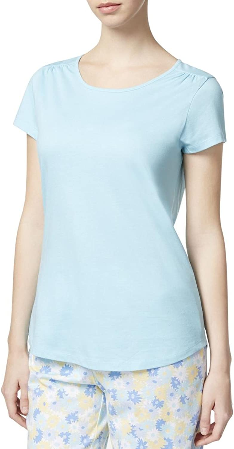 Charter Club Womens Scoop Neck Short Sleeve Sleep Tee bluee XS