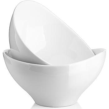 DOWAN Salad Bowls Ceramic, 1.4 Quart Large Serving Bowl Set, 8 Inches White Bowl for Ramen, Popcorn, Pasta, Soup, Fruit, Side Dishes, 2 Packs