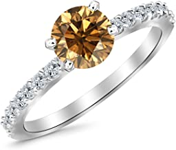 2.3 Carat 14K White Gold Classic Side Stone Pave Set Diamond Engagement Ring with a 2 Carat Natural Untreated Brown/Champagne Diamond Center (Heirloom Quality)