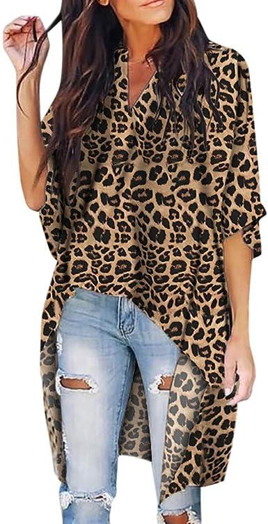 Camisa de Manga Larga con Cuello de Pico y Estampado de Leopardo de Las Mujeres Populares Camisa de Manga Larga
