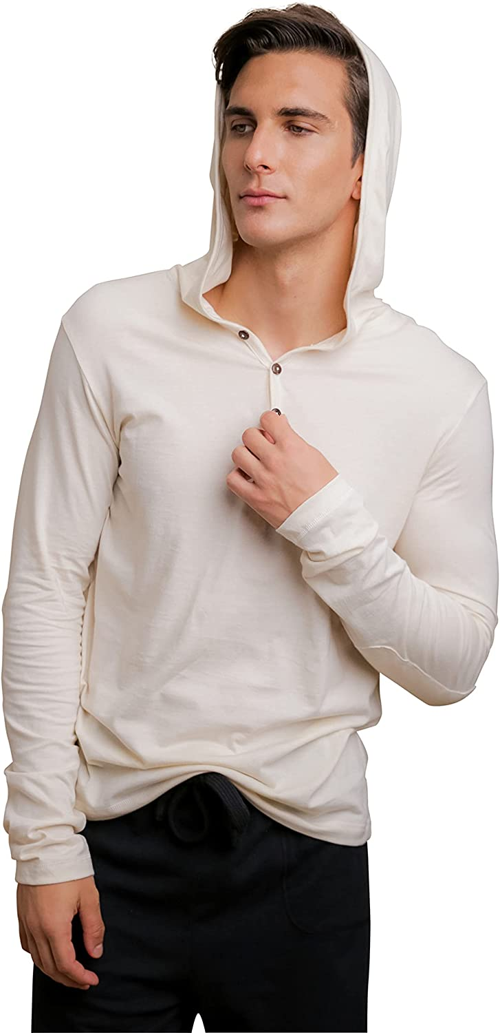 Cottonique Men's Long Sleeve Lightweight Hoodie Made from 100% Organic Cotton