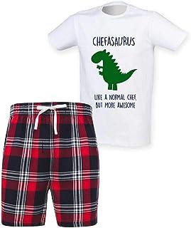 60 Second Makeover Limited Mens Chef Dinosaur Christmas Tartan Short Pyjama Set Family Matching Twinning