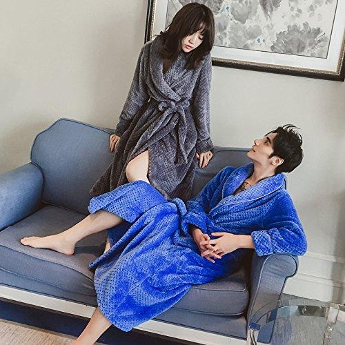 Nachtjapon Vrouwen Winter Paar Dikker en Langer Flanellen pyjama Badjas Mannen Koraal Cashmere Thuis Service L marineblauw