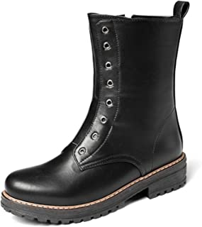 HLDJ Mujeres Martin Boots Soft PU Mantener Cálido Alto Top Zapatos De Tobillo Plano Redondo Toe Impermeable A Prueba De Ag...
