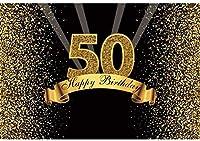 HD 2.2x1.5mビニール誕生日背景50ハッピーバースデーバナーゴールドキラキラ輝くボケ光線写真の写真撮影愛好家パーティー大人の写真の背景スタジオの小道具の写真の背景