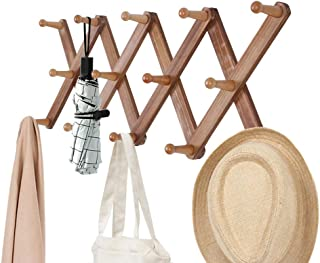 OROPY Wooden Expandable Coat Rack Wall Mounted Multi-Purpose Closet Hook for Door and Wall (X Shape, 14 Peg Hooks)