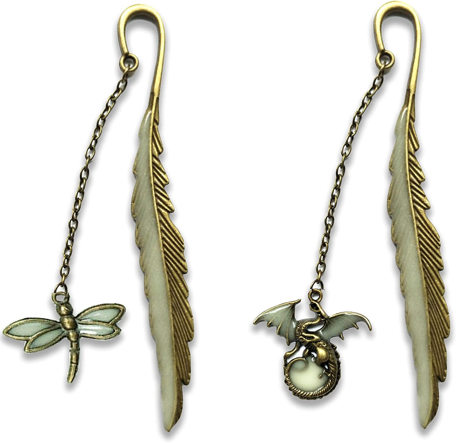 2 Pack Luminous Bookmarks Vintage Marker Book Metal Free shipping anywhere in the Inexpensive nation Feather Uniq