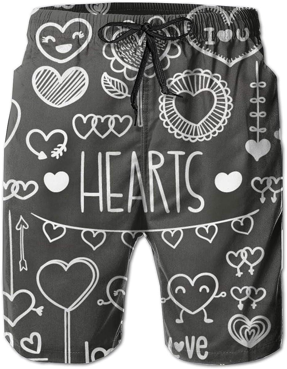 YongColer Men Beach Board Shorts Surfing Swimwear Swim Trunks (Hearts Love Pattern Grey)