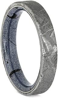 Jewelry By Johan Meteorite Ring, Wedding Band with Meteorite Overlay
