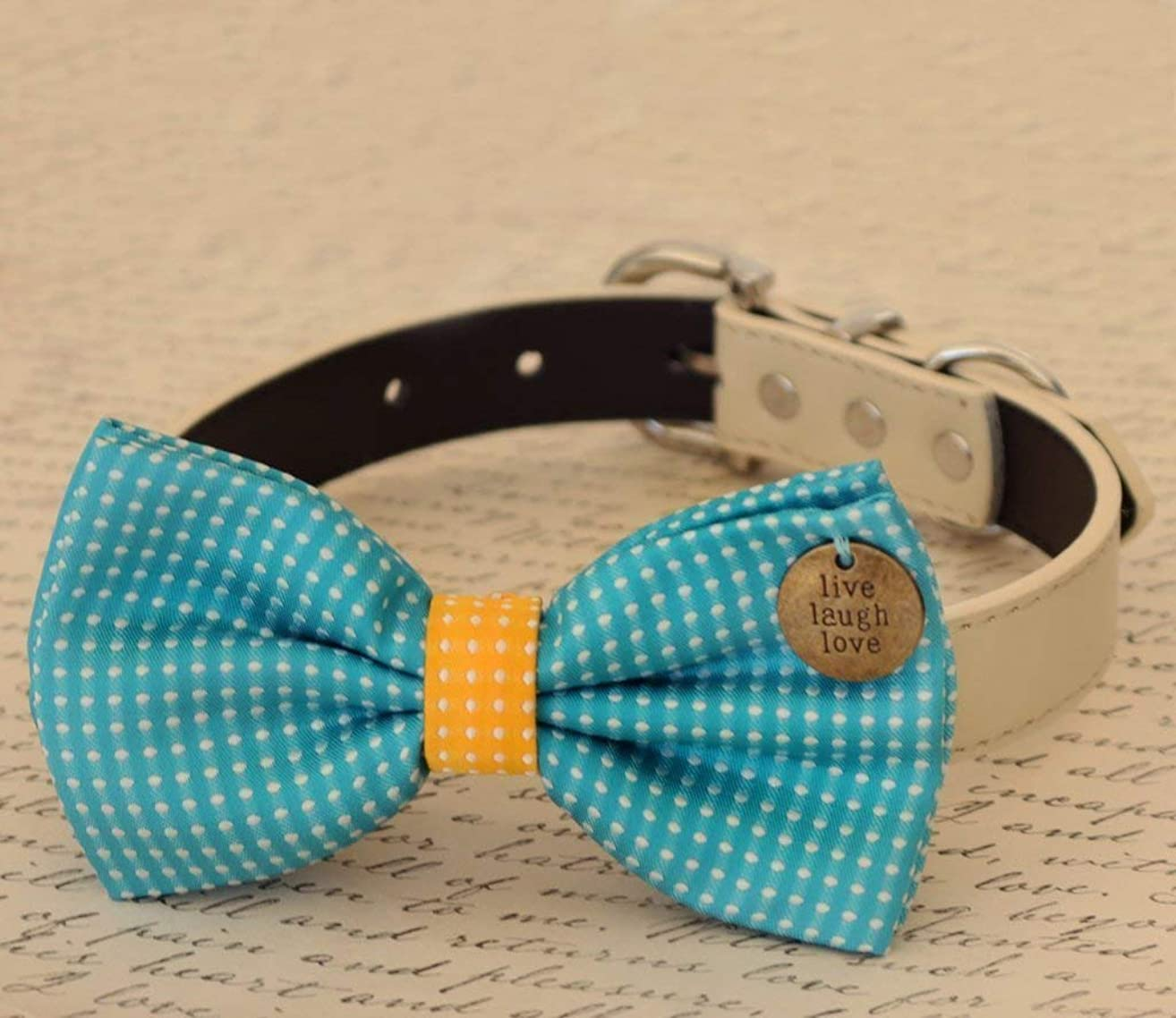 Blue and Yellow Dog Bow Tie collar, Charm (Live, Love, Laugh), Pet wedding, birthday, Polka dots