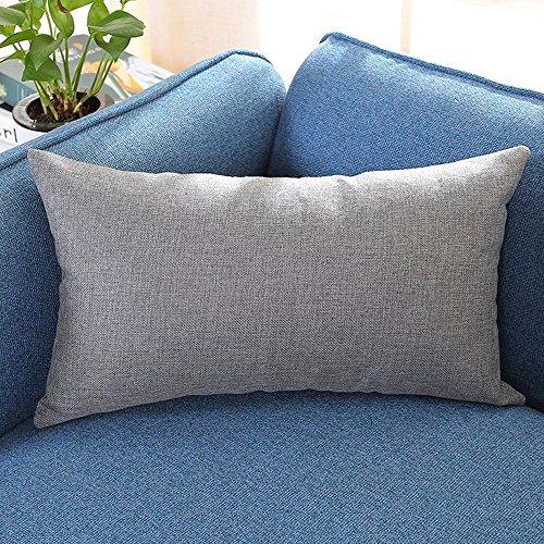 Muium(TM) Fundas de cojín de lino de un solo color, decorativas y modernas, con cremallera oculta, para sofá, dormitorio, coche, 30 x 50 cm (gris)