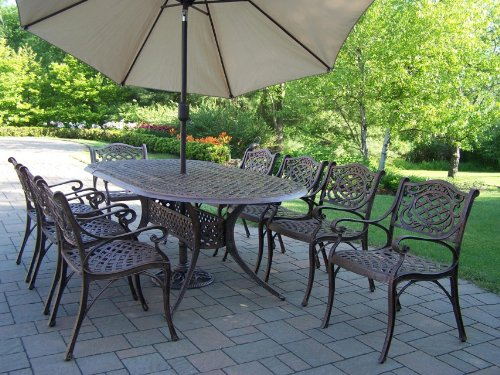 Big Sale Oakland Living Mississippi Cast Aluminum 82 by 42-Inch Oval 9-Piece Dining Set Plus 9-Feet Tilting Umbrella and Stand